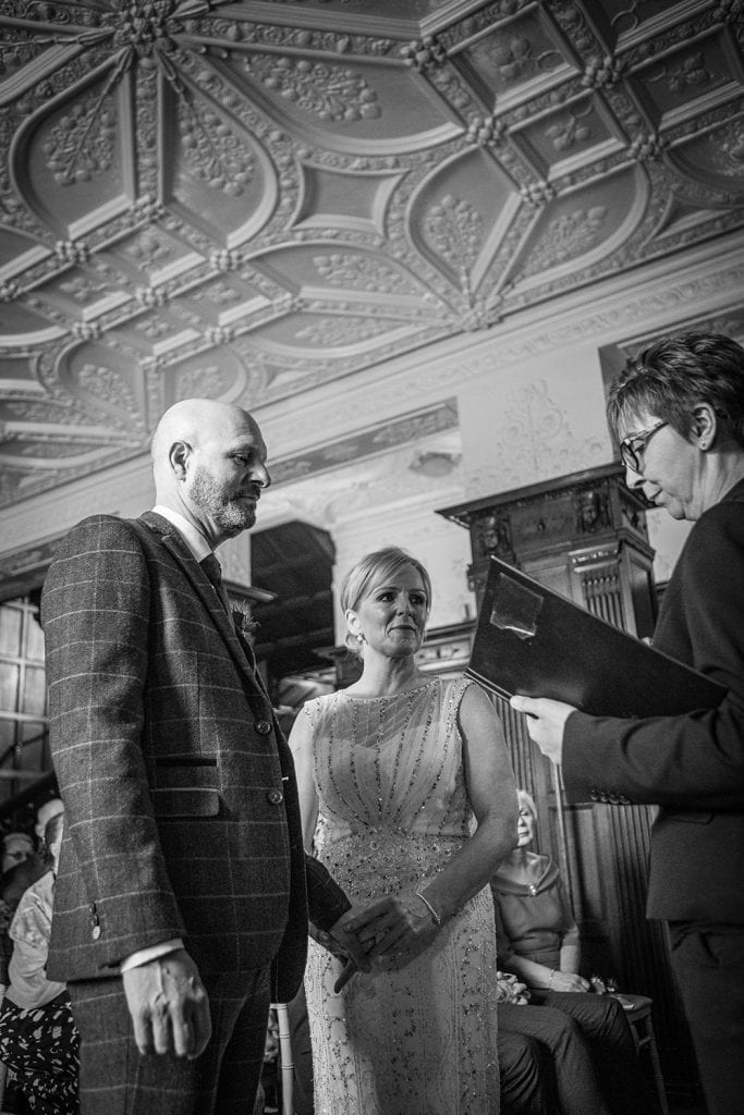 Wendy & Dylan making saying their vows at The Mansion House in Jesmond, Newcastle