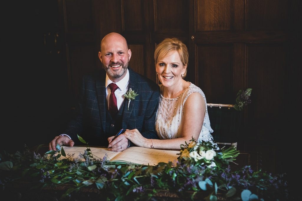 Dylan & Wendy signing their register at The Mansion House in Jesmond, Newcastle
