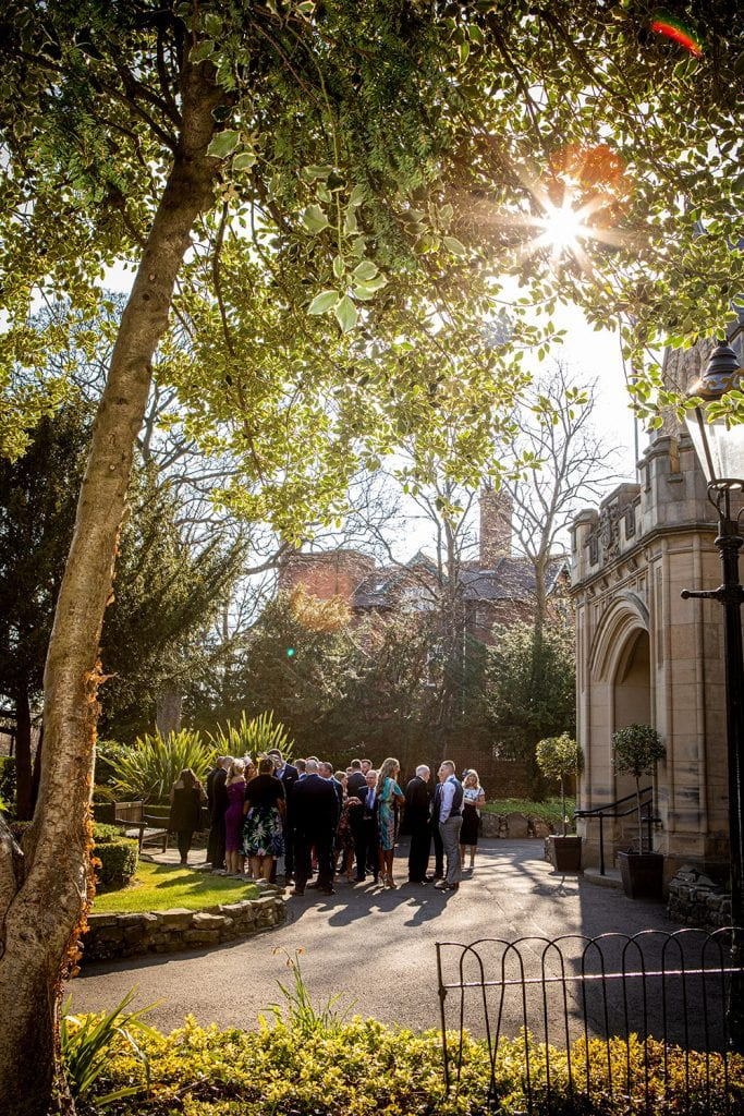 View of guests at Wendy & Dylans Wedding outside of The Mansion House in Jesmond, Newcastle