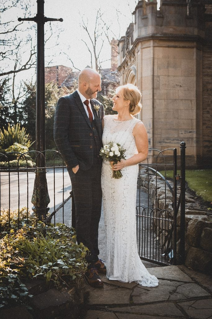Backlit bride & groom at The Mansion House in Jesmond, Newcastle