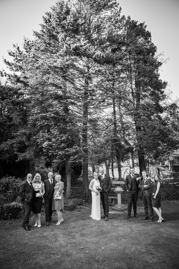 Family photo in the gradens of The Mansion House in Jesmond, Newcastle