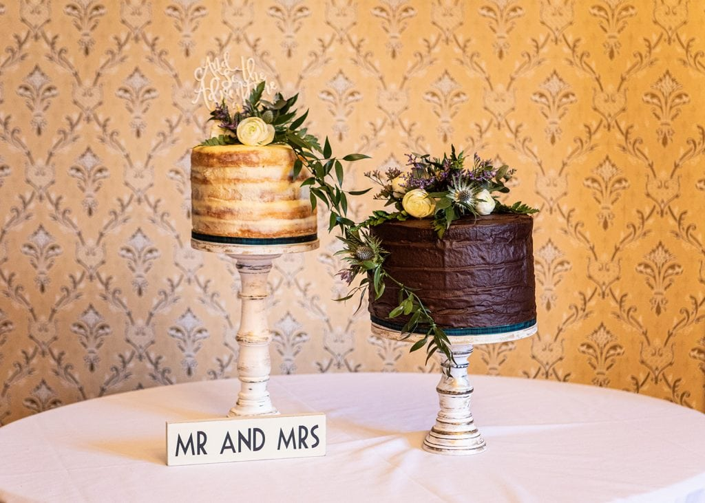 Teasel and rose topped wedding cake