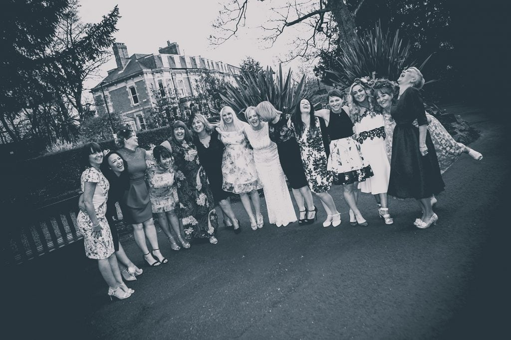 The Brides freinds outside The Mansion House in Jesmond, Newcastle