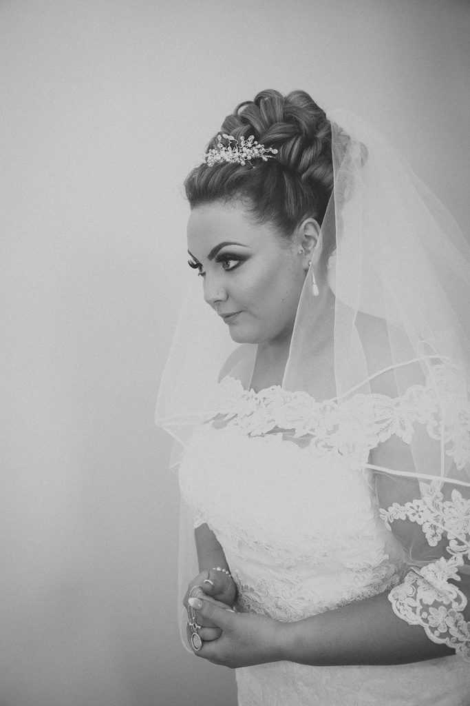 Profile of the bride with pinned hair at a South Shields Wedding