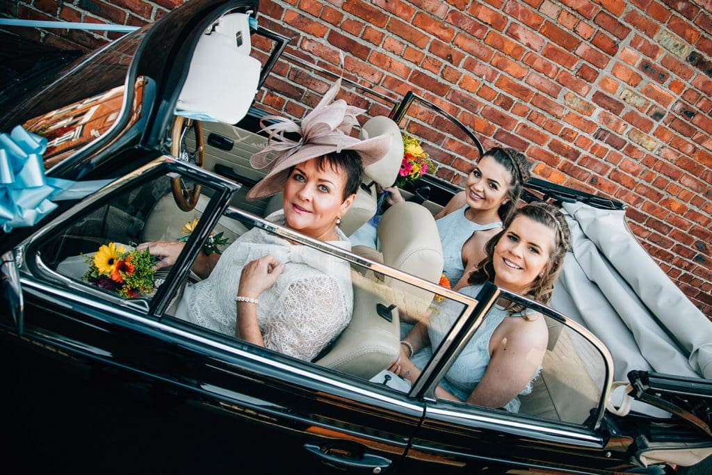 Bridesmaids in a VW Beetle at a South Shields Wedding