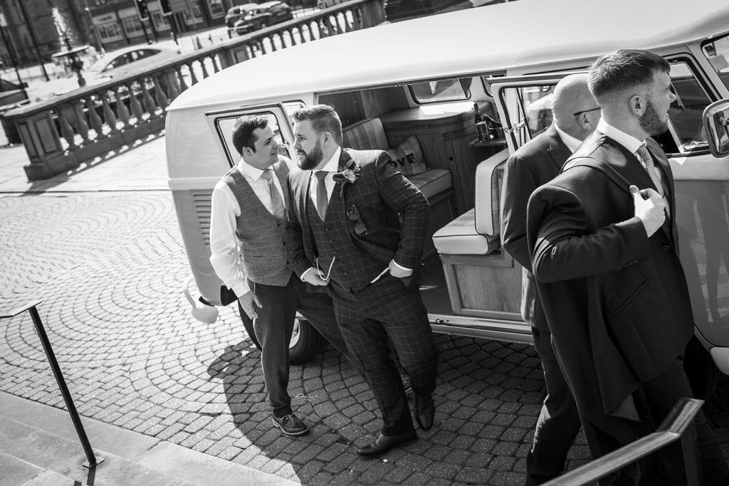 Groom arriving at South Shields Town Hall in VW Camper Van