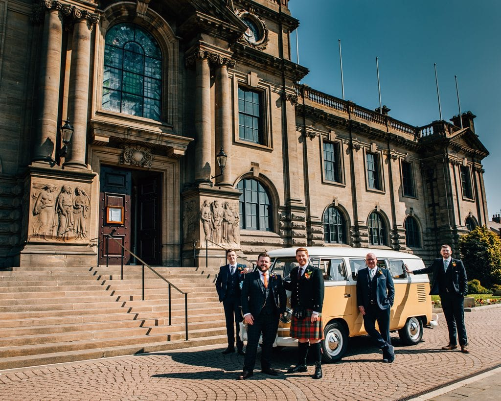 Grooms men outside South Shields Town Hall