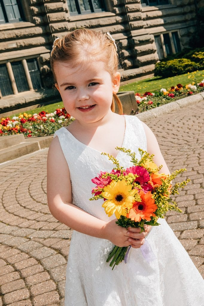 Flower girl outside South Shields Town Hall