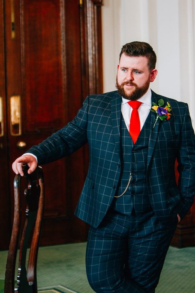 Groom waiting inside South Shields Town Hall