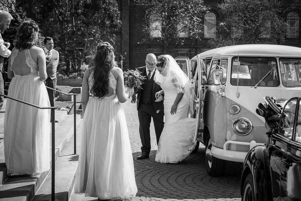 The bride arriving at South Shields Town Hall in a VW Camper Van