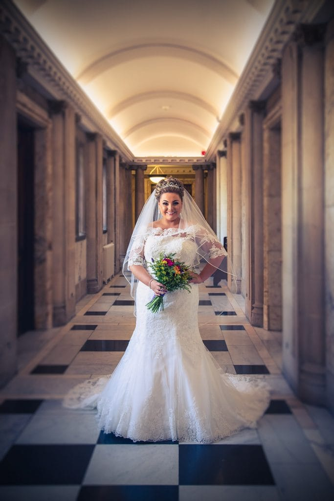 The Bride posing outside the reception room at South Shields Town Hall