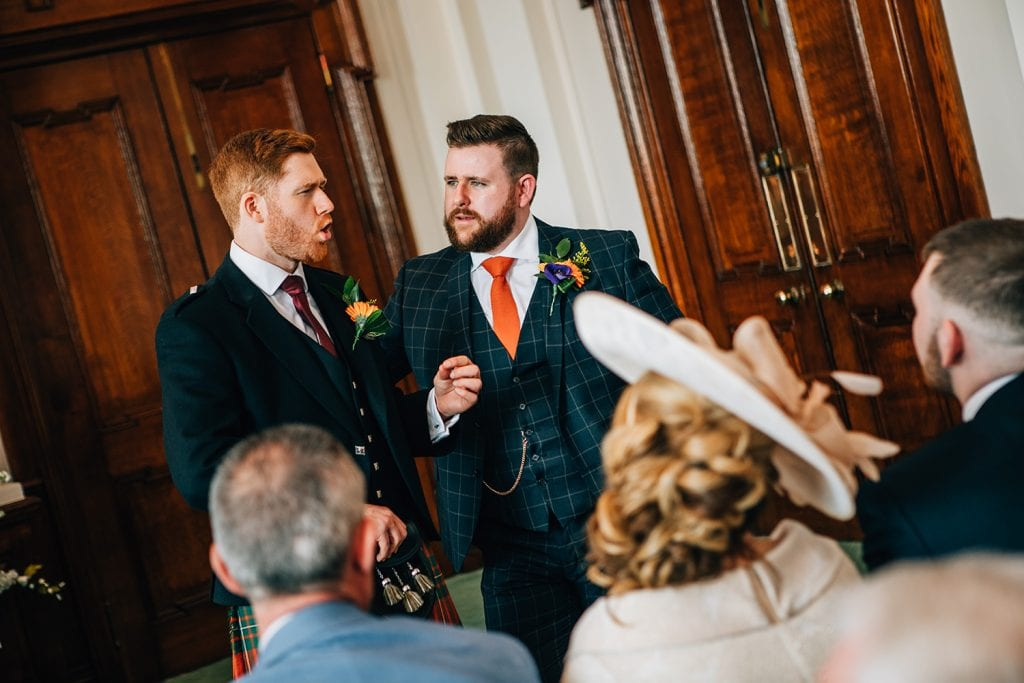 The Groom & Best man talking at South Shields Town Hall