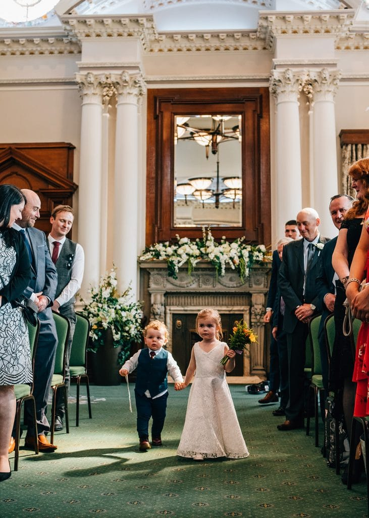Page boy & Flower girl walking down the aisle at South Shields Town Hall