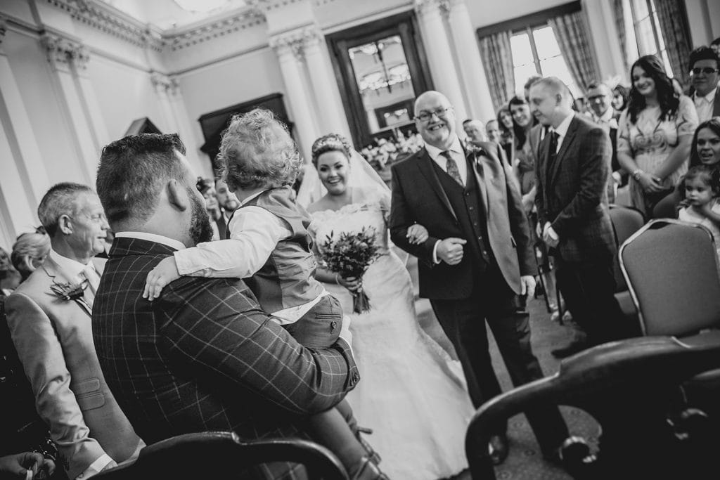 Groom & Son greeting the bride at South Shields Town Hall