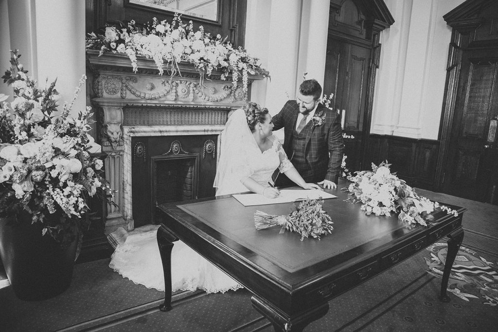 Signing the register at South Shields Town Hall