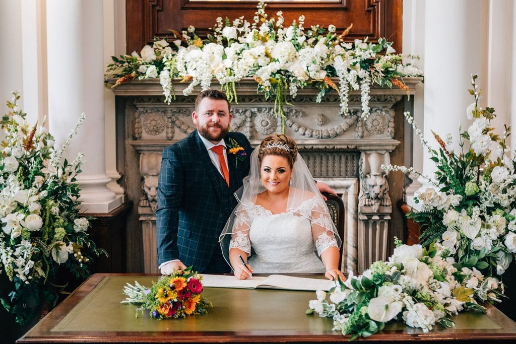 The Bride & Groom signing the register at South Shields Town Hall
