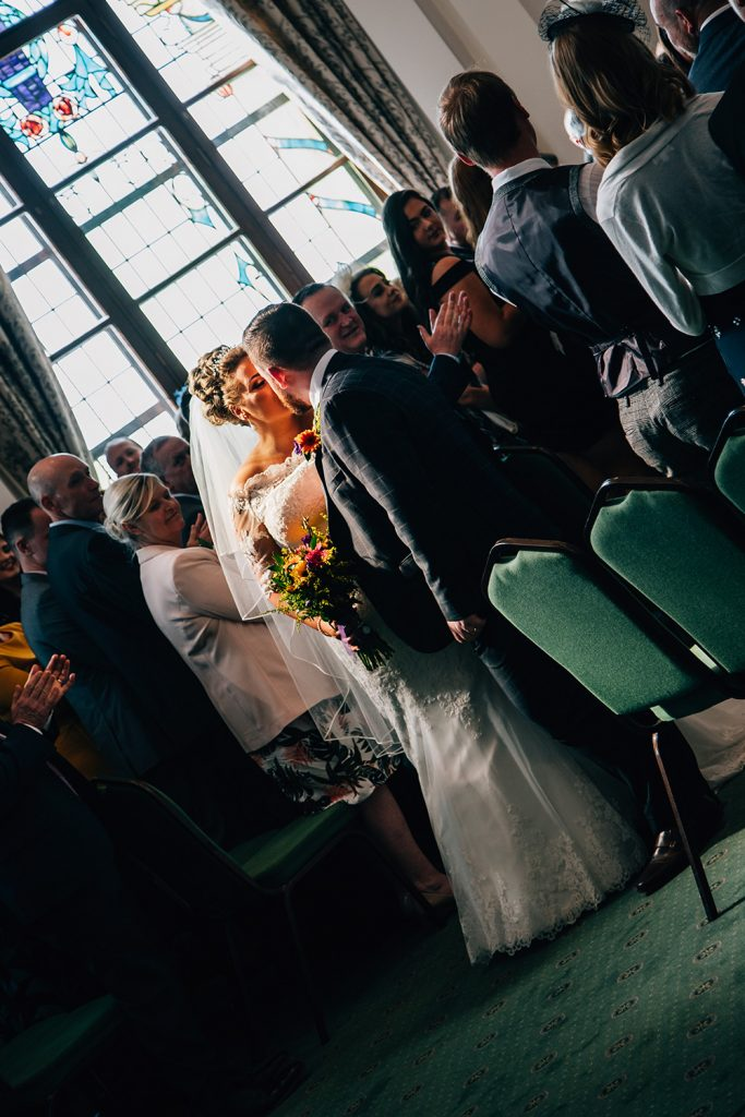 Bride & Groom Kissing at South Shields Town Hall