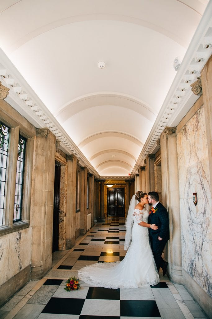 Bride & Groom Kissing in the corridor of South Shields Town Hall