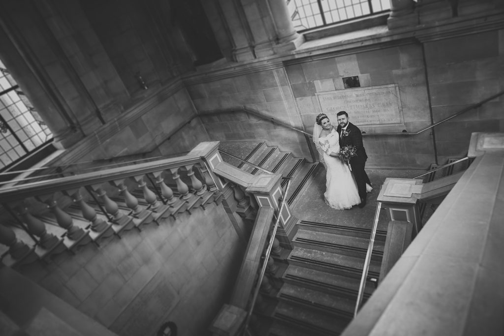 Bride & Groom Posing on the staircase of South Shields Town Hall
