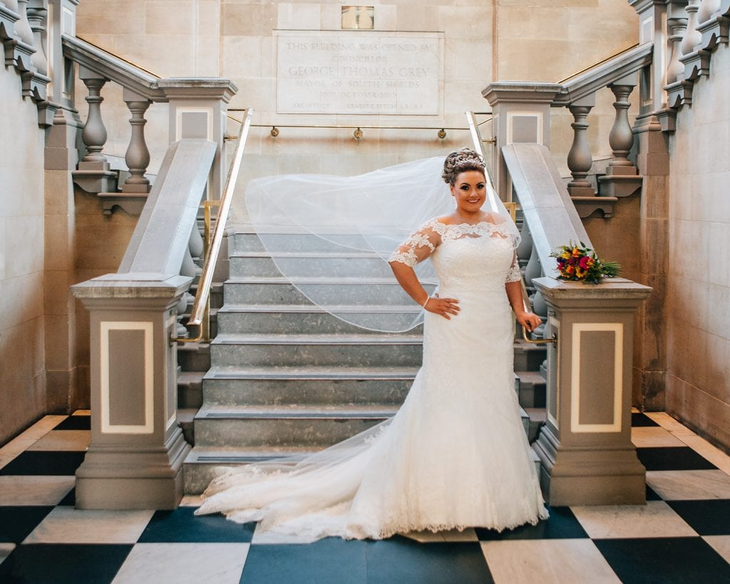 The Bride posing at the foot of South Shields Town Hall Staircase