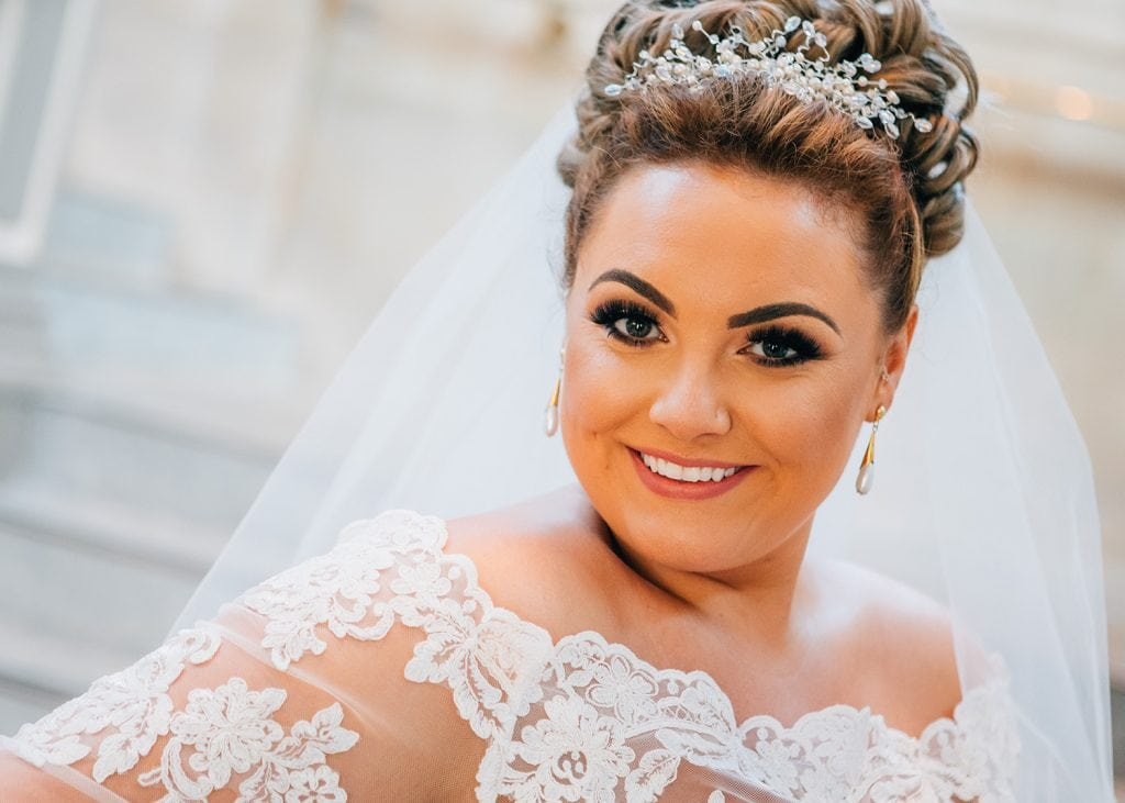 Close up of the bride at South Shields Town Hall