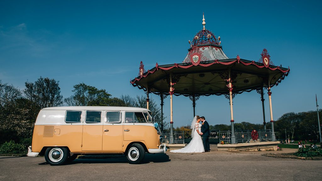 Bride & Groom with their VW Camper Van at the Bandstand At Marine Park in South Shields