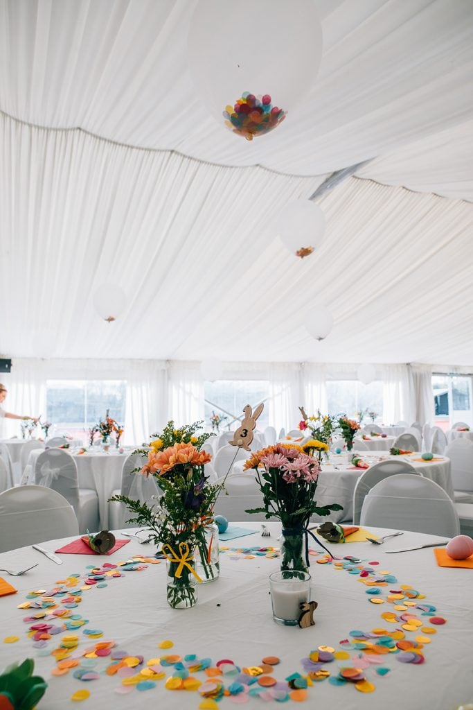 Easter themed tables at the South Shields Football Club marquee