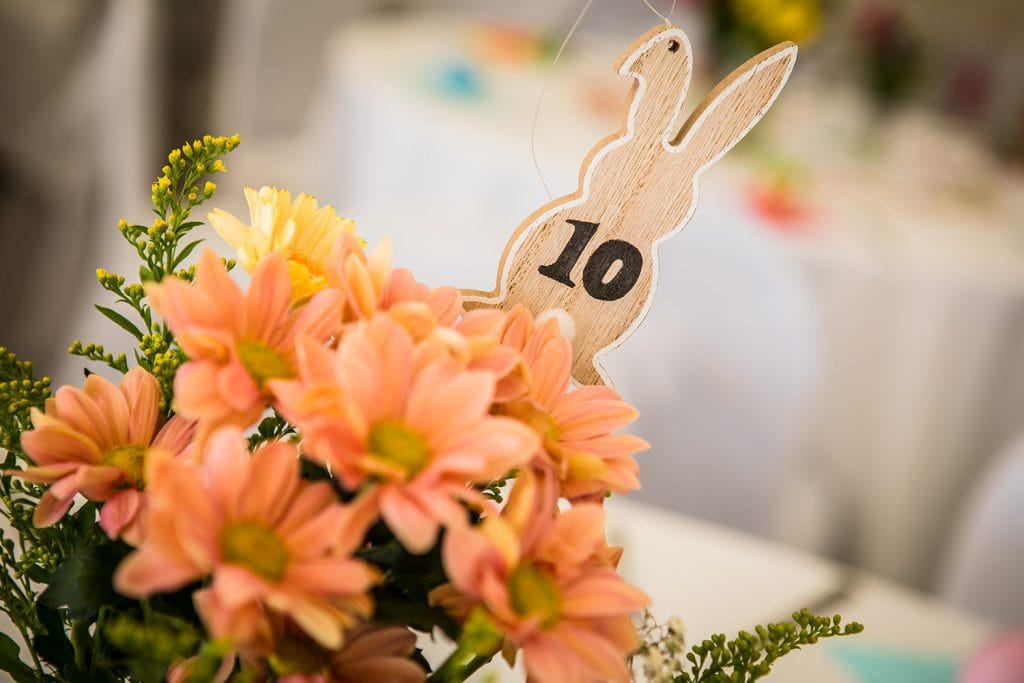 Easter themed wedding table centre