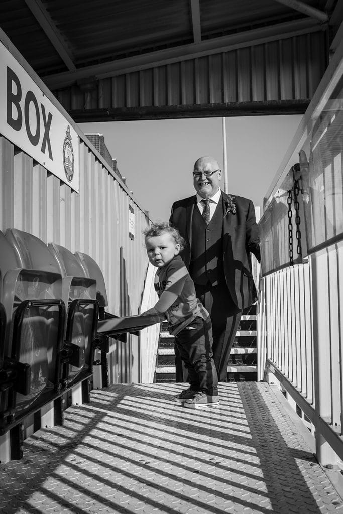 Bride & Grooms son enjoying at the South Shields Football Club seats