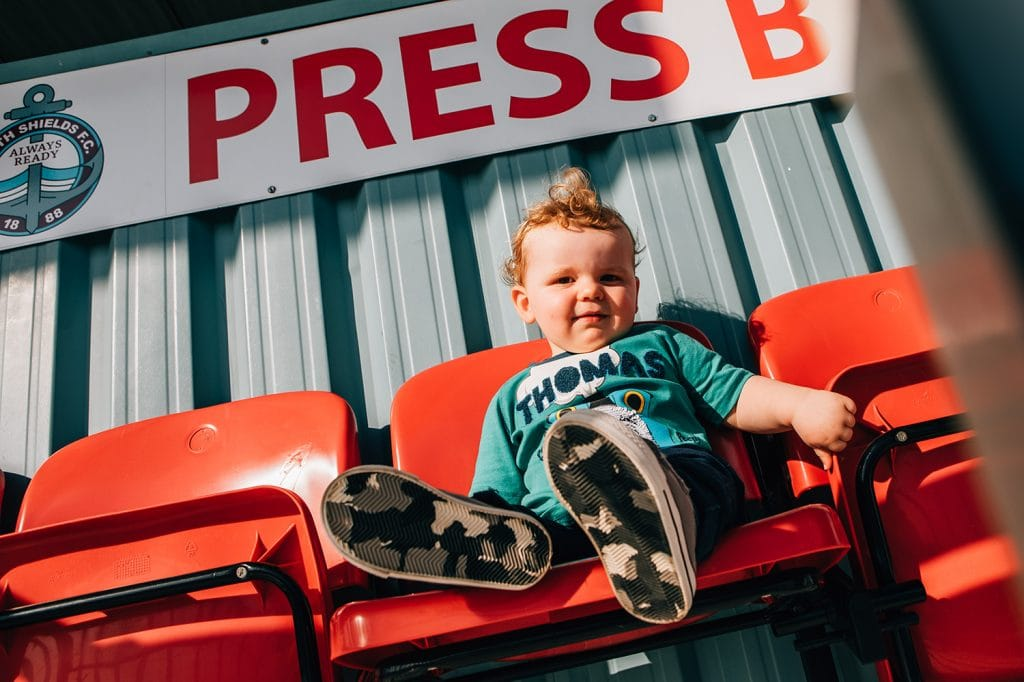 Page boy in the stands of at the South Shields Football Club