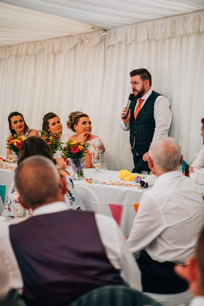 Groom making a speech at South Shields Football Club marquee