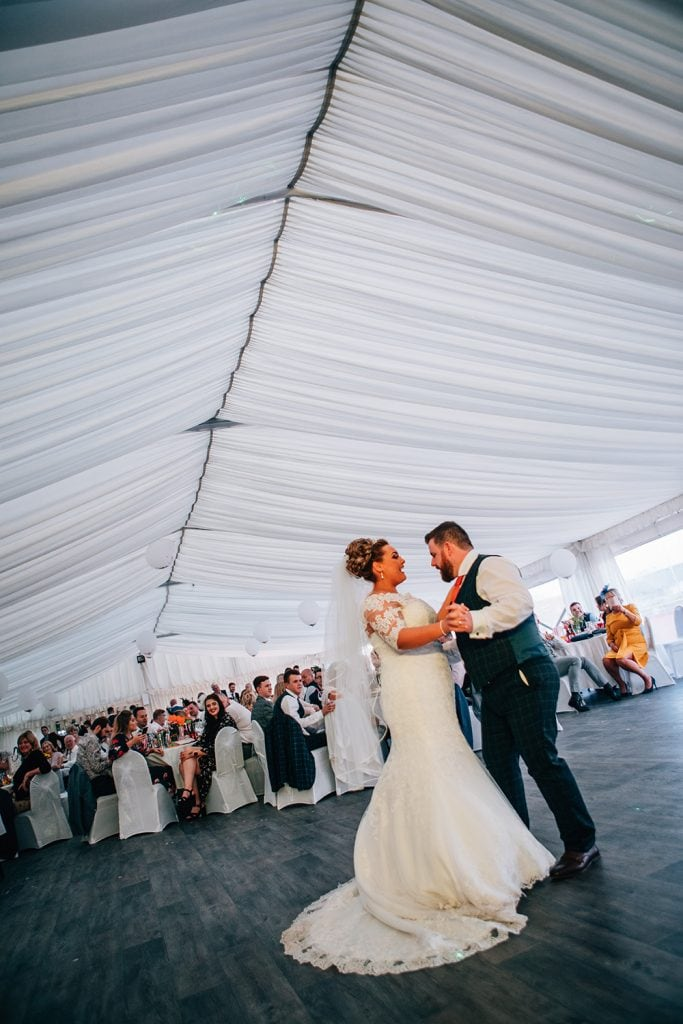 Sophie & James dancing in the South Shields Football Club Marquee