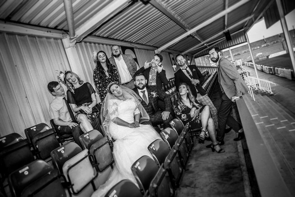 Sophie & James with friends in the stands of South Shields Football Club