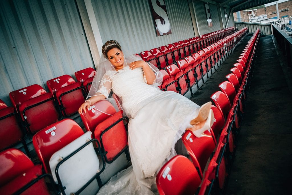 Bride relaxing in the South Shields Football Club stands