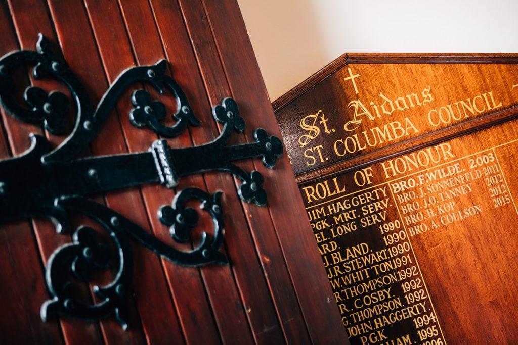 The entrance to St Aidan's RC Church in Ashington