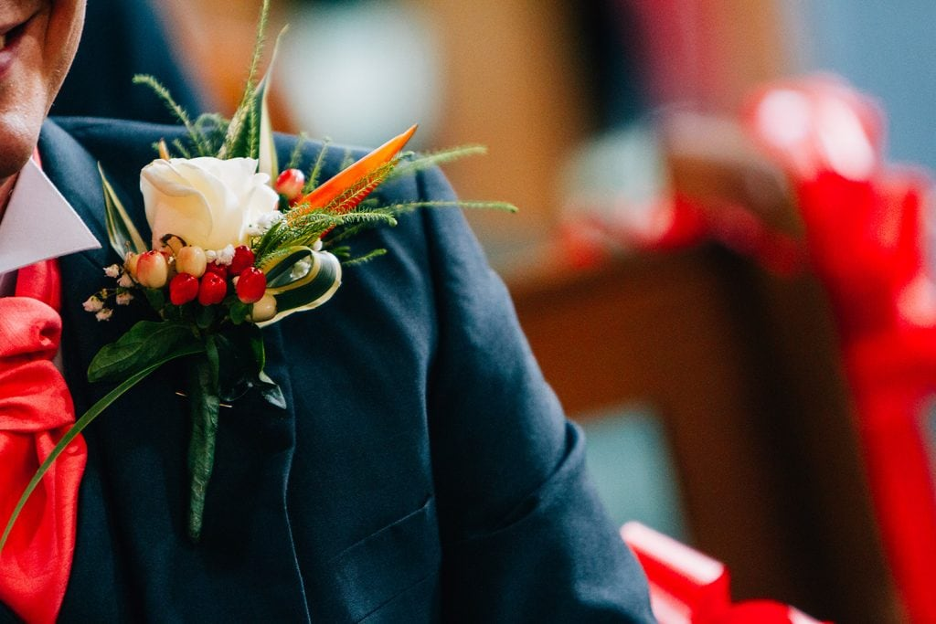 Grooms tropical themed buttonhole