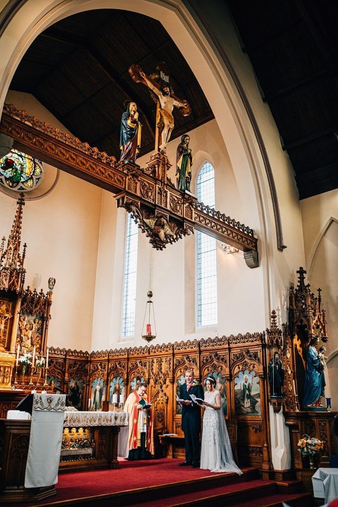 Wedding on the alter at St Aidan's RC Church in Ashington