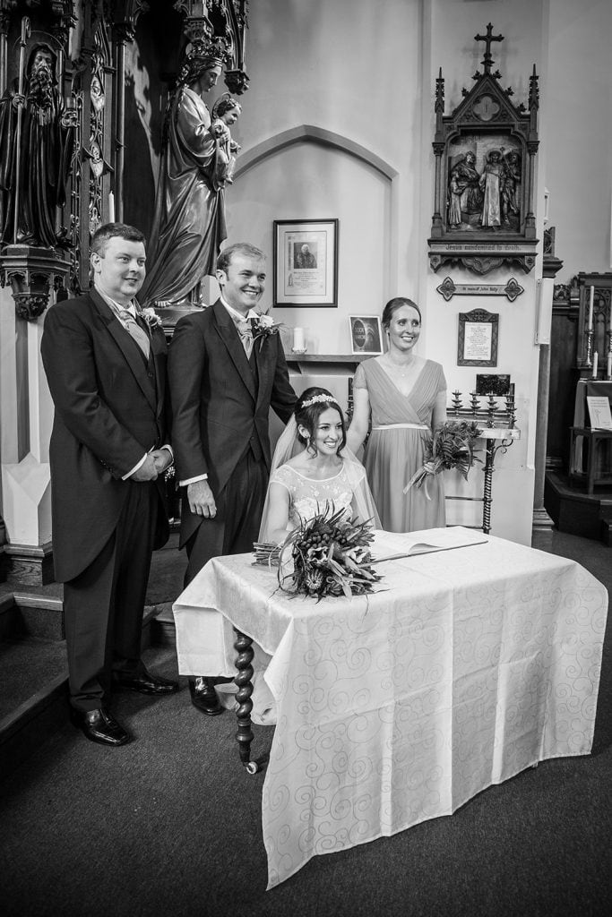 Bride & Groom with their witnesses at St Aidan's RC Church in Ashington