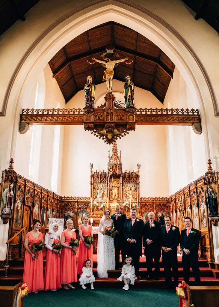 The bridal party on the alter of St Aidan's RC Church in Ashington