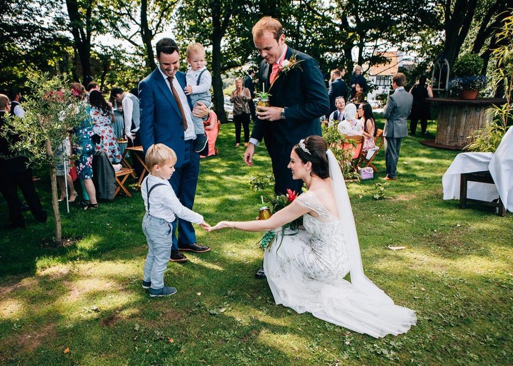 Bride & Groom meeting Pageboys at Beamish Park Hotel
