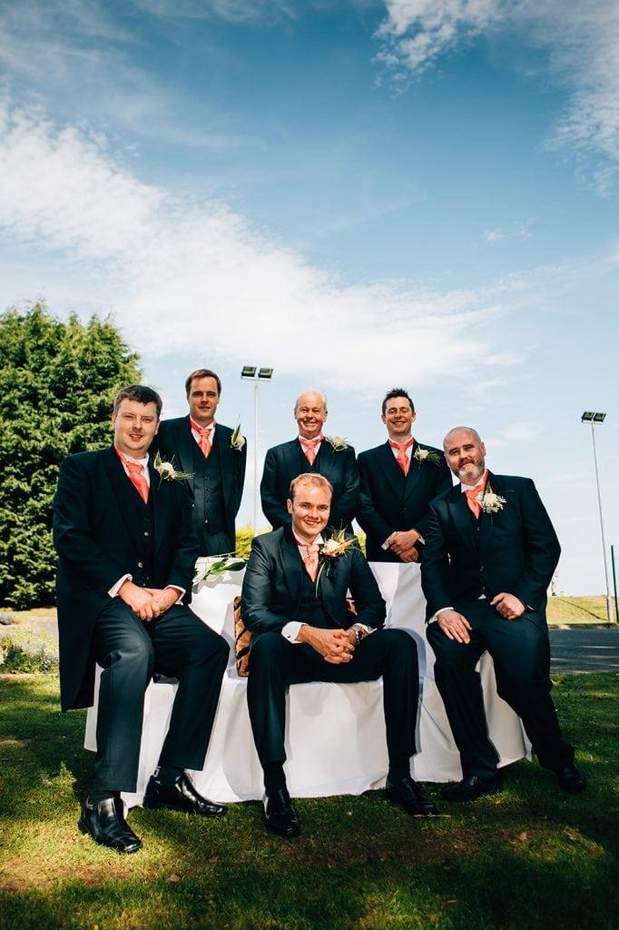 Groomsmen posing at Beamish Park Hotel