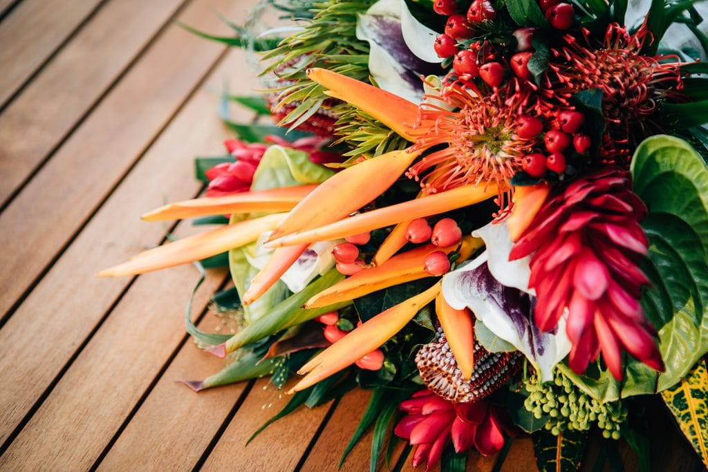 Tropical themed bouquet at Beamish Park Hotel