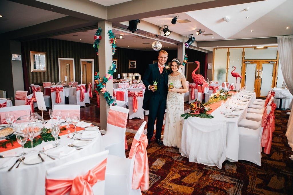 Mary & Alex in their Tropical themed reception room at Beamish Park Hotel