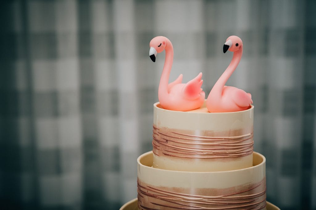 Close up of a flamingo themed wedding cale at Beamish Park Hotel