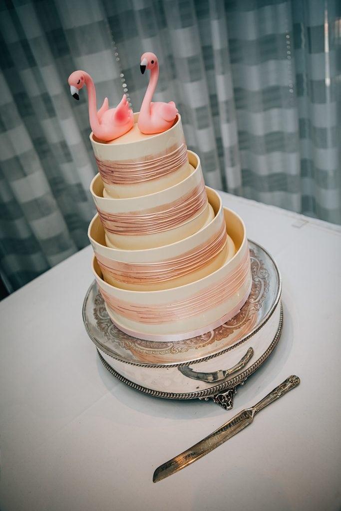Flamingo themed wedding cake at Beamish Park Hotel