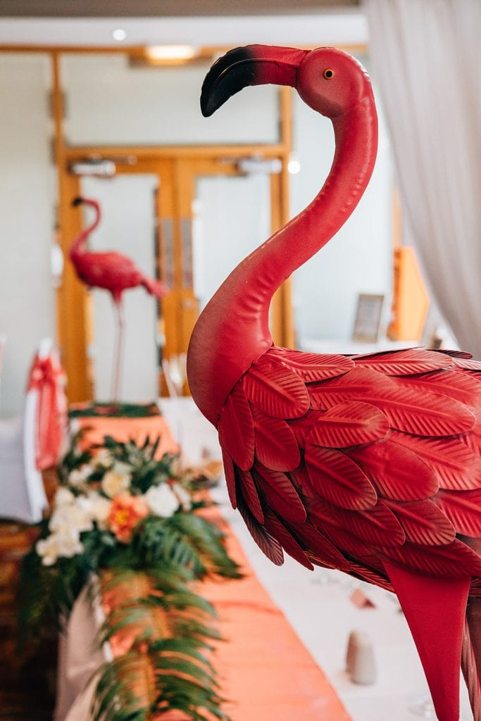 Tropical themed flamingo's at Beamish Park Hotel