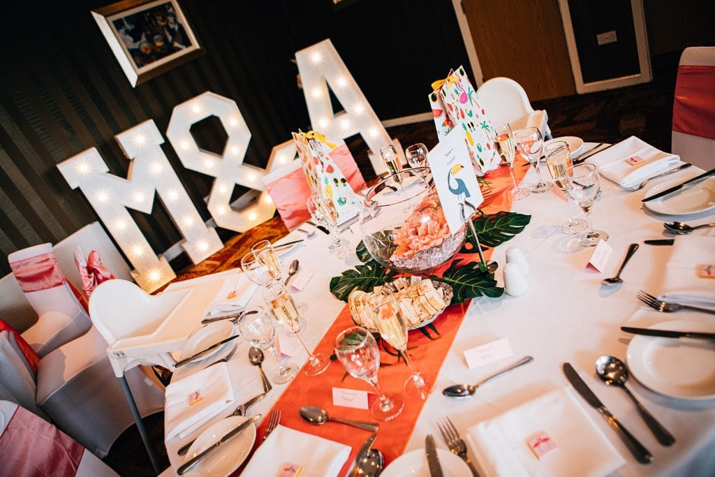 Tropical themed table setting & Light up Letters at Beamish Park Hotel