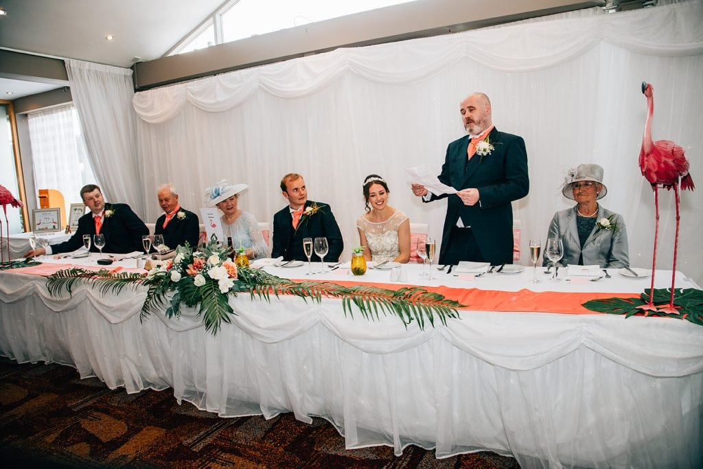 Brides brother making his speech at Beamish Park Hotel