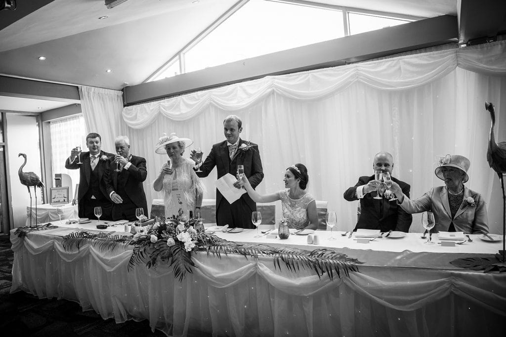 A wedding toast at Beamish Park Hotel