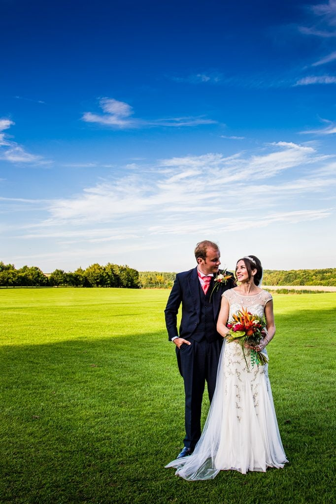 Mary & Alex under blue skies at Beamish Park Hotel